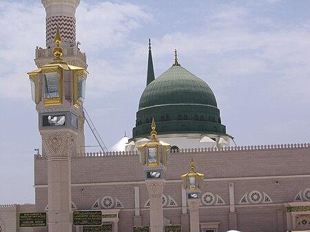 القبة الخضراء حيث مرقد النبي.