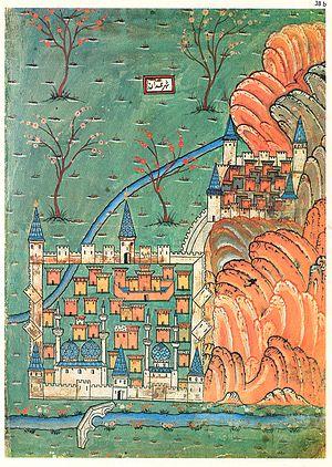 Hamadan - 16th century map of Hamadan by Matrakçı Nasuh