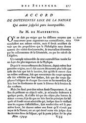 Pierre Louis Moreau de Maupertuis: Accord de différentes loix de la nature qui avoient jusqu'ici paru incompatibles