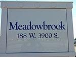 Meadowbrook station passenger platform sign, Aug 16.jpg