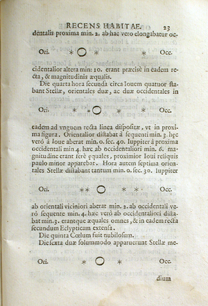 Sidereus Nuncius - Galileo's drawings of Jupiter and its Medicean Stars from Sidereus Nuncius. Image courtesy of the History of Science Collections, University of Oklahoma Libraries.