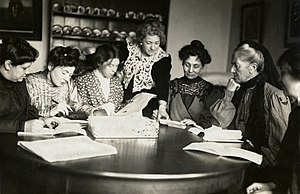 Helen Archdale - Meeting of Women's Social and Political Union (WSPU) leaders, Flora Drummond, Christabel Pankhurst, Annie Kenny, Emmeline Pankhurst, Charlotte Despard with two others. 1906 - 1907