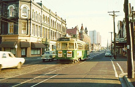 Melbourne Tram system in 1979. Melbourne remained the only city to operate a tram network in Australia through the 1970s. Melbourne Tram 1979.jpg