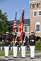 Members of a Marine Corps color guard perform during the retirement ceremony in honor of Lt. Gen. George J. Flynn, Jr., not shown, at Marine Barracks Washington in Washington, D.C., May 9, 2013 130509-M-KS211-098.jpg