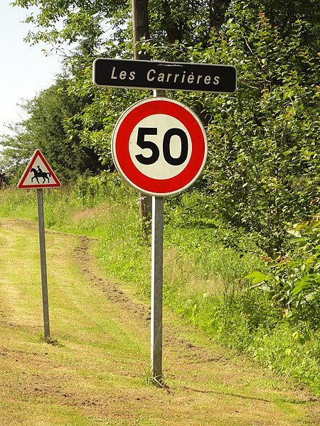 Merviller (M-et-M) city limit sign Les Carrières