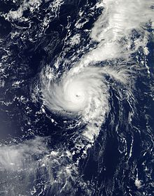 Satellite imagery of a hurricane near its peak intensity as a major hurricane