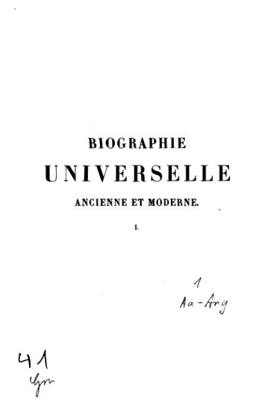 File:Michaud - Biographie universelle ancienne et moderne - 1843 - Tome 1.djvu