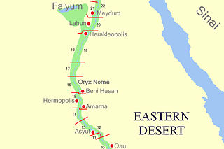 Middle Egypt Section of land between Lower Egypt and Upper Egypt