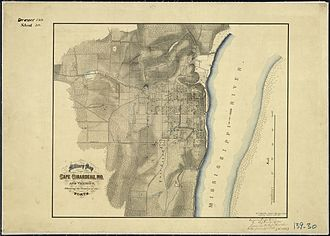 Cape Girardeau, Missouri - Map of Cape Girardeau and vicinity, showing location of its forts (September 1865).