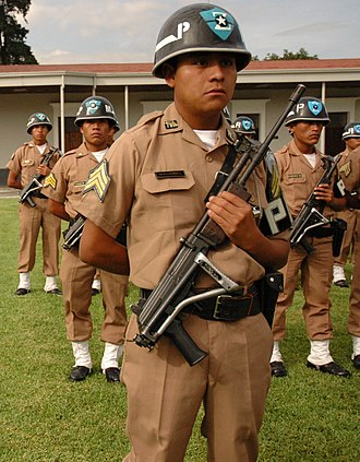 Provost (military police) - A Military Police NCO from Guatemala with a Galil rifle.