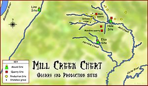 Mill Creek chert - Map showing geographical extent of Mississippian stone statues