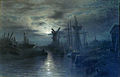 Miller Frederick - Watercolor - Rye (Sussex) by moonlight - 40x63cm.jpg