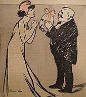 Karikatuur van een kleine man met wit haar en een zwarte snor die een vrouw met een Frygische muts het hoofd van een man aanbiedt in de vorm van een paasei