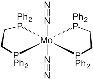 Bis(dinitrogen)bis(1,2-bis(diphenylphosphino)ethane)molybdenum(0) - Image: Mo(dppe)2(n 2)2revd 2
