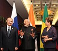 Modi, Putin and Rousseff at the informal meeting of BRICS leaders ahead of the 2014 G-20 summit.jpg