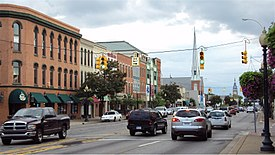 Monroe's historic downtown on M-125
