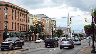 Monroe, Michigan - Monroe's historic downtown on M-125