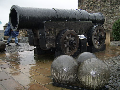 "Mons Meg with its 20"" (50 cm) caliber cannonballs"