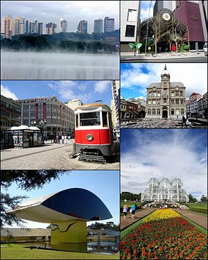 From the top: The Botanical Garden of Curitiba, Curitiba skyline from Barigui Park, Palace Avenue building, Paço da Liberdade, 24 Hours Street, Oscar Niemeyer Museum.