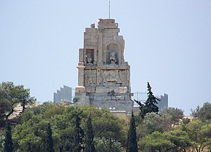 Philopappos Monument - General view of the Philopappu Monument on top of Muse Hill