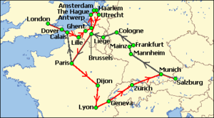 Simplified chart of a sector of western Europe and southern England. A green arrowed line shows the party's outward journey from Salzburg to London via Mannheim, Cologne, Liege, Brussels and Paris. A red line indicates the return via the Netherlands, Paris, Lyons, Geneva and Zürich.