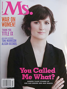 "Cover of Ms. Magazine: Sandra Fluke stands with arms folded; the caption reads, ""You called me what?"""