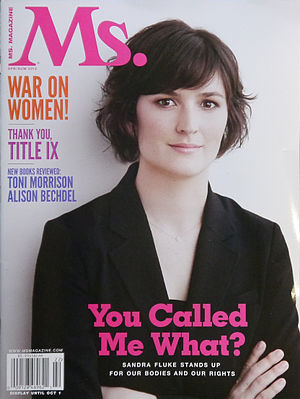 Rush Limbaugh–Sandra Fluke controversy - Sandra Fluke on the cover of Ms. magazine in 2012