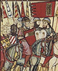 Muhammad I (red tunic and shield) leading his troops during the Mudéjar revolt of 1264–66. Contemporary depiction from Cantigas de Santa Maria