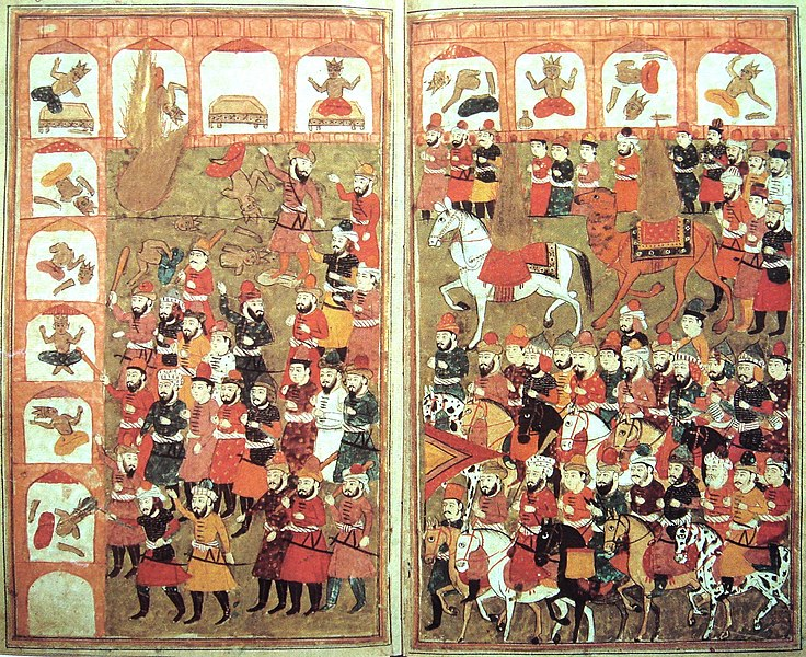 Eighteenth-century Persian depiction of Islam on the march, with Muhammad piously depicted only as a flame destroying idols.