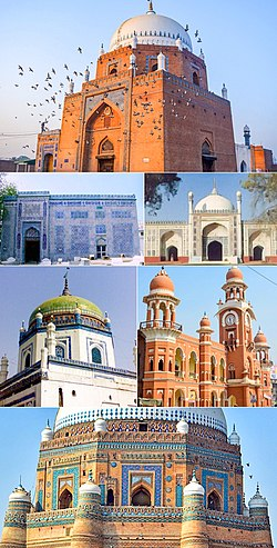 Clockwise from the top: the 13th century Shrine of Bahauddin Zakariya، Shahi Eid Gah Mosque, Multan's Ghanta Ghar, detail on the 14th century Tomb of Shah Rukn-e-Alam, shrine of Shamsuddin Sabzwari, blue-tiled tomb of Shah Gardez