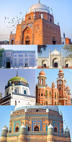 Multan - Clockwise from the top: Tomb of Shah Rukn-e-Alam, the Shrine of Bahauddin Zakariya, the Shahi Eid Gah Mosque, and Multan's Ghanta Ghar