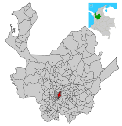 Location of the city (urban in red) and municipality (dark gray) of Medellín in Antioquia Department.