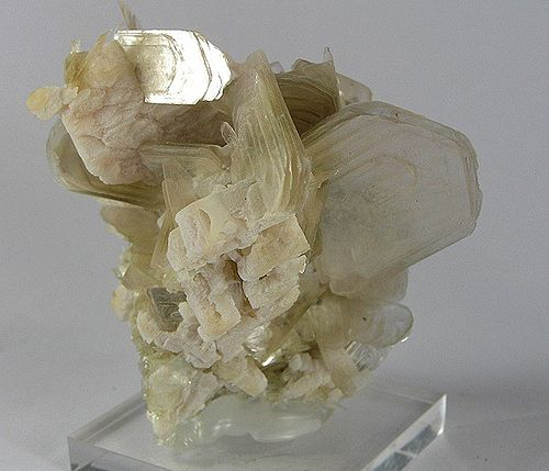 Muscovite, a mineral species in the mica group, within the phyllosilicate subclass Muscovite-Albite-122886.jpg