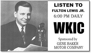 On the left, a suited man seated before a microphone, smiling and holding a script. On the right, radio station advertising copy.
