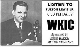 "Mutual Broadcasting System - Mutual featured a variety of political voices, but none for so long as that of conservative commentator Fulton Lewis Jr. Many later pundits ""copied his style—mocking, ridiculing, full of denials, full of sweeping generalizations, and full of inside-dopesterism."" WKIC was Mutual's affiliate in Hazard, Kentucky."