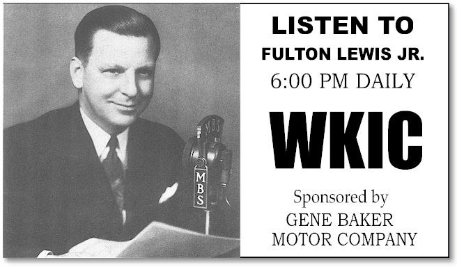 Mutual Broadcasting System - Fulton Lewis Radio 1940s-1950s Commercial