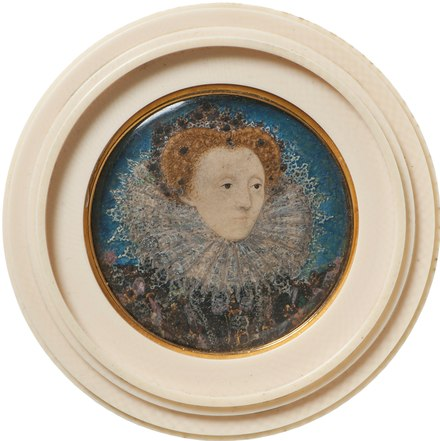 Portrait from 1586-1587, by Nicholas Hilliard, around the time of the voyages of Sir Francis Drake Nicholas-Hilliard-Elizabeth-I-Queen-of-England-c-1586-87.tif