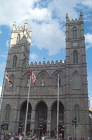 Gothic Revival architecture in Canada - Notre-Dame de Montréal, one of Canada's first major Gothic Revival structure. Its symmetry and straight lines still evoke the previous Georgian and neo-classical styles.