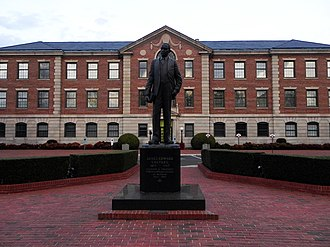 Statue of NCCU founder James E. Shepard. James E. Shepard was also a pharmacist, civil servant and educator. He served as the first president of NCCU for nearly 40 years. NCCU James E. Shepard statue.JPG