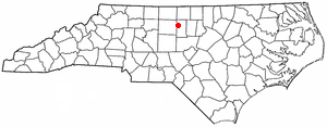 Altamahaw, North Carolina - Image: NC Map doton Altamahaw Ossipee