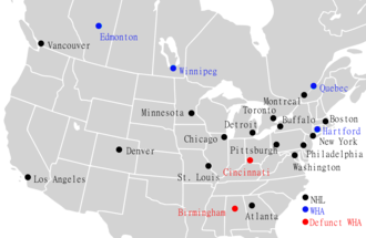 NHL–WHA merger - Cities that hosted NHL and WHA teams at the time of the NHL-WHA merger in 1979
