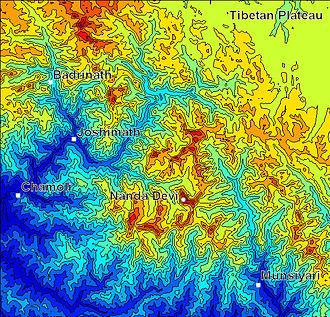 Nanda Devi - Shaded contour map of Nanda Devi region