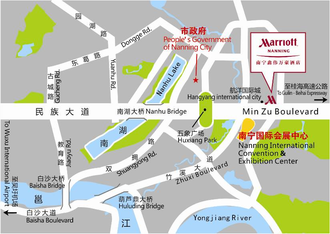 Nanning Marriott - The Nanning Marriott is in the eastern area of the city's CBD, sited diagonally opposite Nanning International Convention & Exhibition Center, which is the permanent venue for the annual China–ASEAN Expo.