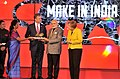 Narendra Modi and the German Chancellor, Ms. Angela Merkel at the Joint Inauguration of the India Pavilion and the Joint Walk-About Make in India, in Hannover (1).jpg