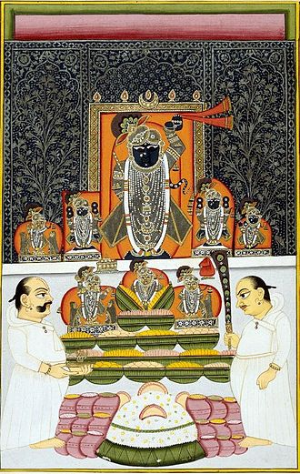 Shrinathji Temple - Nathdwara Shrinathji at the autumn Annakuta Festival. Pichvai-style background. late 18th century.