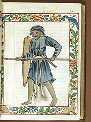 A Filipino warrior holding a Sibat (spear) in the Boxer Codex.