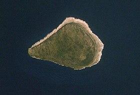 Image satellite de l'île de la Navasse en 2006.