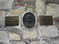 Memorial plate in front of Nebojša Tower in which Rigas Feraios was strangled.