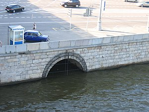 Neglinnaya River - The Neglinnaya River discharges into the Moskva River through two tunnels, of which this is one.