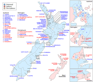 New Zealand general election, 1990 - Image: New Zealand Electorates 1990 Labeled